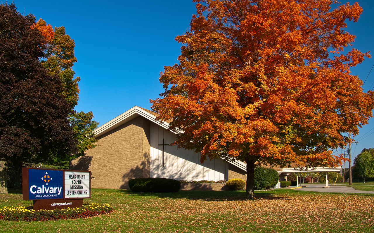 This building originally housed Kalamazoo Bible Church. When the congregation finally dwindled to 20 members, they transferred the property to Calvary Bible Church, the church that I attend. The congregation has grown to over 150 members and the church is once again an independent church, and is pastored by the man who performed the ceremony in which Kim and I were married. Three images taken with a tripod Canon Rebel XTi using autoexposure bracketing, +/-2EV. The images were merged and tonemapped with PSCS5 Merge to HDR Pro, with additional tweaking in Adobe Camera Raw. Perspective correction was done with PSCS5 Lens Correction; additional noise reduction performed with Topaz Denoise. http://calvaryeast.com/ http://www.facebook.com/calvaryeast